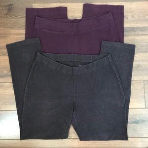 Lot of 2 Land's End Yoga/Elastic Waist Pants, L